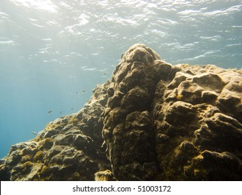 Underwater rocks see while scuba diving in tenerife