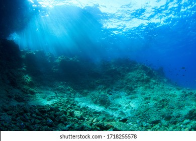 Underwater scenery with rocks and sun rays. Image taken scuba diving in Indonesia - Shutterstock ID 1718255578
