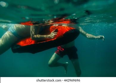 underwater scooter seabob unidentified man dive snorkling deep sea water