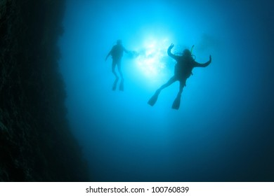 Underwater Scuba Diver Silhouettes