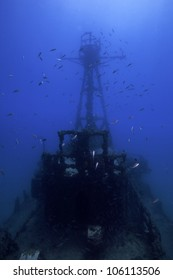 Underwater shipwrecks crows nest with a blue water background in Key Largo, Florida. The Coast Guard Cutter Duane in John Pennekamp State Park.