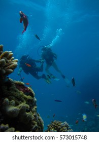 Underwater shoot of a couple diving with scuba near beautiful colorful reef and different fishes