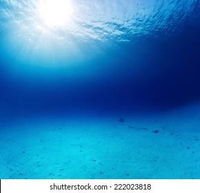 Underwater shot of the sandy bottom