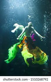 Underwater show dance acting in thailand, focus