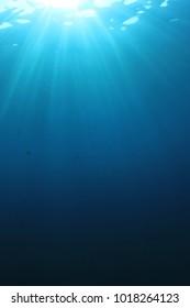 Underwater sunlight in ocean