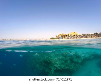 Underwater surface split view in the tropics paradise with fish and coral reef, above waterline view of paradise beach with parasols. Egypt Marsa Alam vacation concept