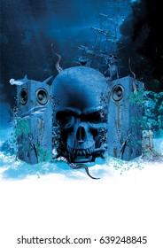 underwater treasure island 3D render illustration