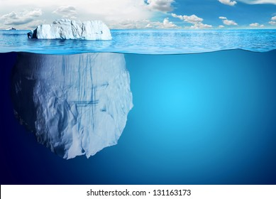 Underwater view of iceberg with beautiful transparent sea on background - illustration.