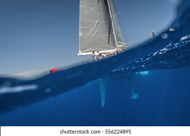 Underwater view with rudder and keel of sailing boat