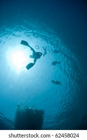 Underwater view of snorkellers silhouettes at the water surface. Shaab Ohrob, Southern Red Sea, Egypt.