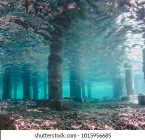 Underwater view of Under a Pier with Pillars and Rays of Light