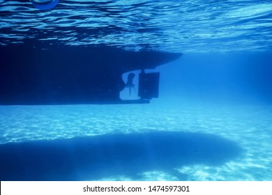 Underwater view to Yacht Rudder and Prop, Bottom of a Boat
