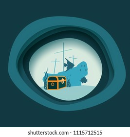 Underwater world background. Underwater landscape with sunken ship and treasure chest. Marine life and fauna. Abstract background with paper cut shapes