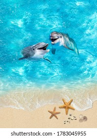 Underwater world. Image with dolpins, sand and ocean for 3d floor. Collage. Illustration