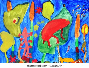 Underwater world in a multi-colored childrens drawings