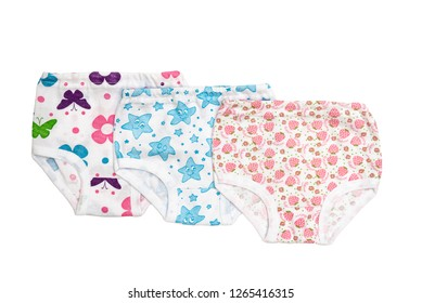 Underwear clothes (underpants) for baby girl isolated on white/ Top view/ Flat lay