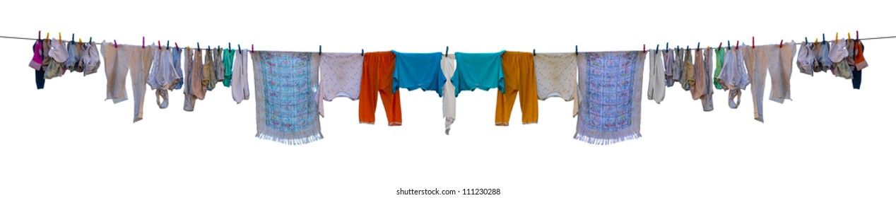 Underwear drying on a rope isolated on white background