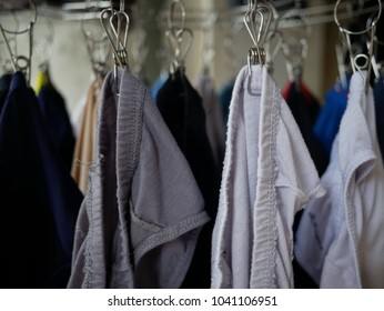 underwear hanging on the cloth rack.