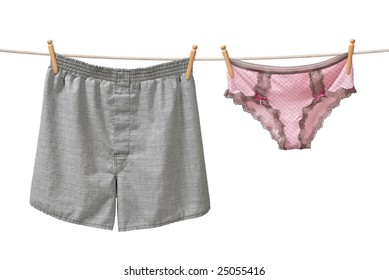Underwear Hanging on a Clothesline isolated on white background
