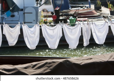 Underwear on a clothesline on a ship in Rotterdam in the Netherlands