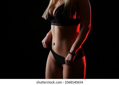 underwear women in black background