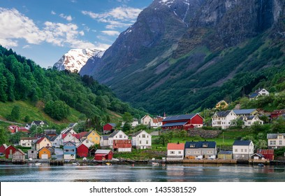 Undredal, small beautiful village at Aurland fjord, Norway.