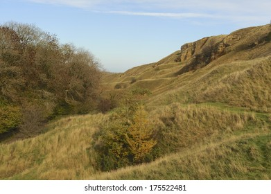 The undulating hills of Cleeve Common overlooking Cheltenham Gloucestershire.  It is the highest point in the Cotswolds and a biological and geological site of special scientific interest.