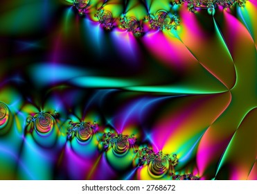 undulating rainbow of color