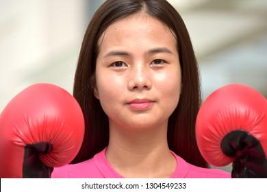 Unemotional Athlete Female Boxer