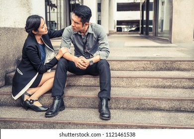 unemployed businessman stress sitting on the floor or stair, failure and unemployment problem concept.