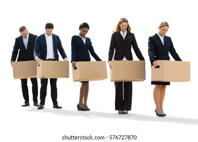 Unemployed People Standing With Cardboard Boxes After Layoff. Isolated On White