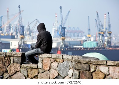 Unemployed waiting in the port of Hamburg in Germany