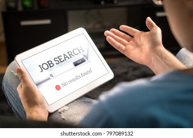 Unemployment and job search problem. Unhappy and frustrated man can't find work with tablet. No results found in online search engine. Sad, disappointed and depressed jobseeker. Jobless applicant.