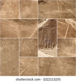 Unesco Heritage: Lines and Geoglyphs of Nazca, Peru - collage (From top left: sea bird, hand, pelican, condor, giant, whale, spider, monkey, dog, scorpion, humming bird)