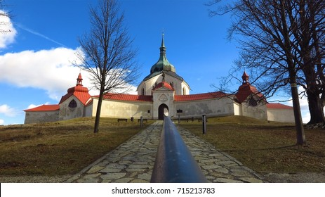 UNESCO Pilgrimage Church of St John of Nepomuk in Zdar nad Sazavou, Czech Republic                  panorama