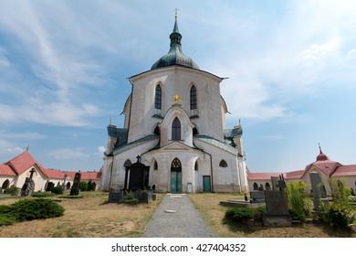 UNESCO sight Church of st. John Nepomuk - Zelena hora, in town Zdar nad Sazavou, Czech republic
