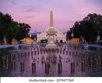 Unesco Vigan Dancing Fountain in the evening, Ilocos Sur, Philippines