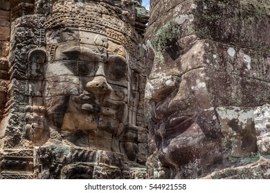 The UNESCO world heritage, closeup the old stone face mural in Angkor Wat, Siem Reap, Cambodia.
