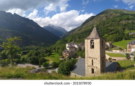UNESCO World Heritage. First Romanesque church of Sant Joan in the village of Boí. (11-12 century). View of the bell tower. Valley of Boi. Spain.