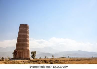 UNESCO World Heritage Site Burana Tower in Balasagun, Kyrgyzstan.