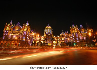UNESCO World Heritage site Chatrapati Shivaji Terminus (formerly Victoria Terminus) illuminated beautifully at night on special occasions, festivals and public holidays