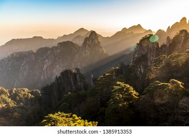 UNESCO World Heritage Site Natural beautiful sunrise landscape of Huangshan mountain scenery ( Yellow mountain ) in Anhui CHINA, It is a best of China major tourist destination.