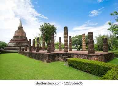 UNESCO World Heritage site Wat Chana Songkhram in Sukhothai Historical Park, Sukhothai province, Thailand