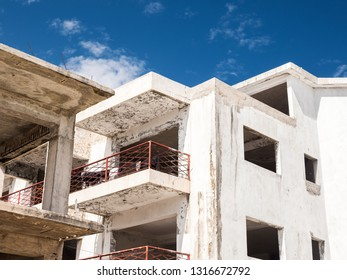 Unfinished and abandoned construction of caribbean building, nobody