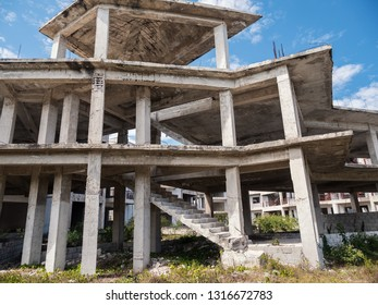 Unfinished and abandoned construction site of typical caribbean building, nobody