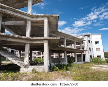 Unfinished and abandoned construction of typical caribbean building, nobody