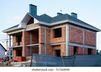 Unfinished brick house, still under construction