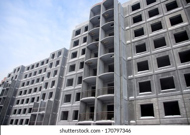 Unfinished building of reinforced concrete panels without windows