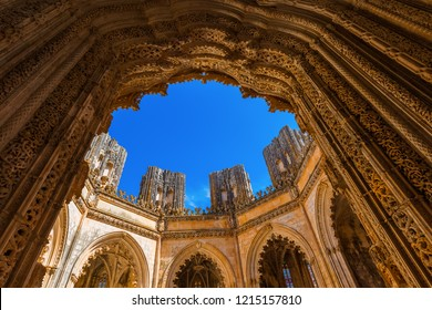 Unfinished Chapel in Batalha Monastery - Portugal - architecture background