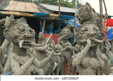 Unfinished clay idols of Dakini Yogini. They are demonic associates of Goddess Kali, used to be seen in every pandal during Kali puja. At streets near Kalighat, Kolkata, day before Kali puja.
